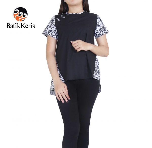 blouse kelengan hitam putih kombinasi polos batik keris