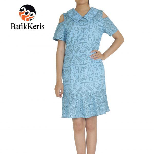 dress batik keris motif kusumo sinambung kombinasi tenun kate