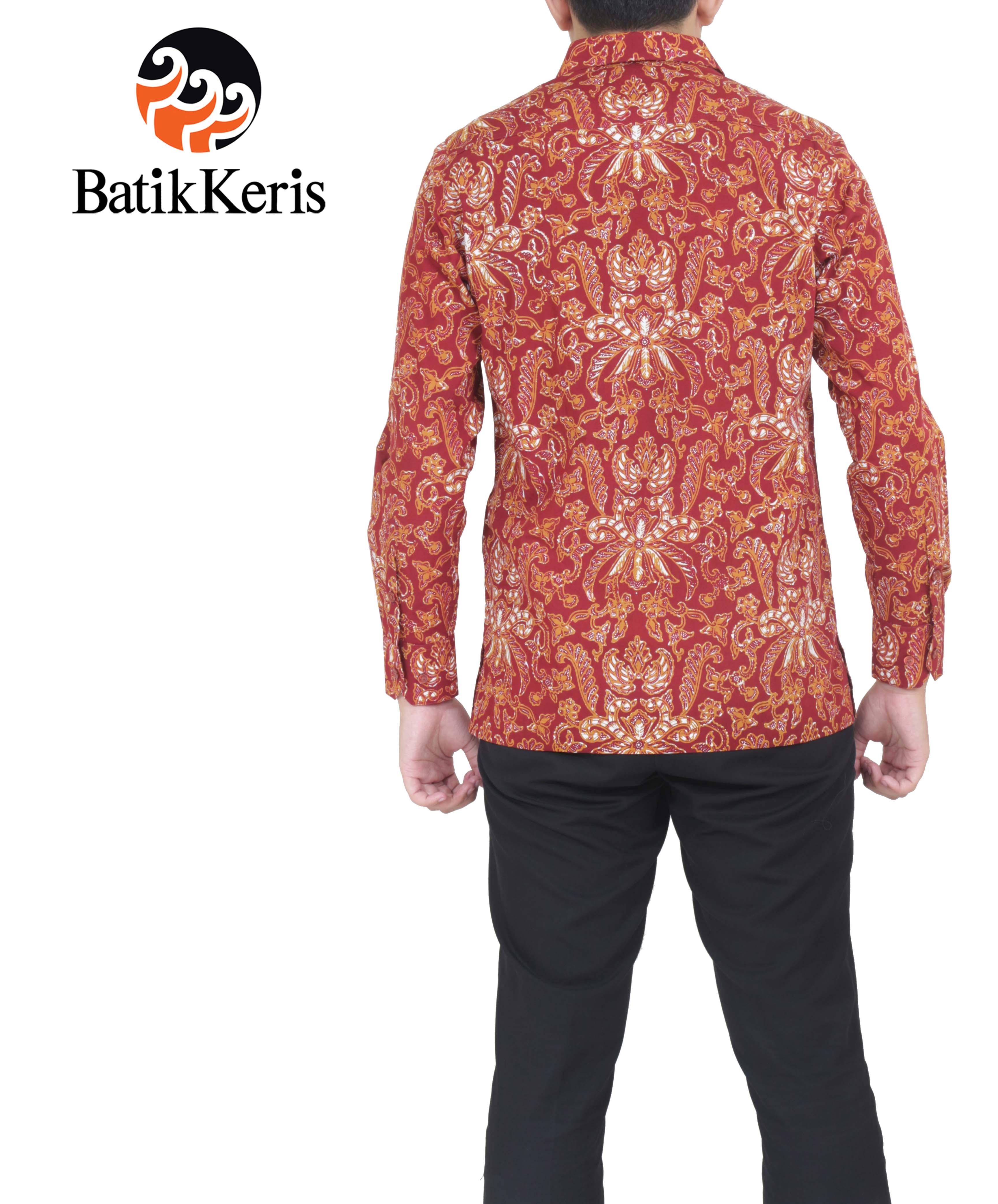 Batik Keris Solo 2017: HEM SLIMFIT BATIK LENGAN PANJANG MOTIF PISAN BALI MUNGIL