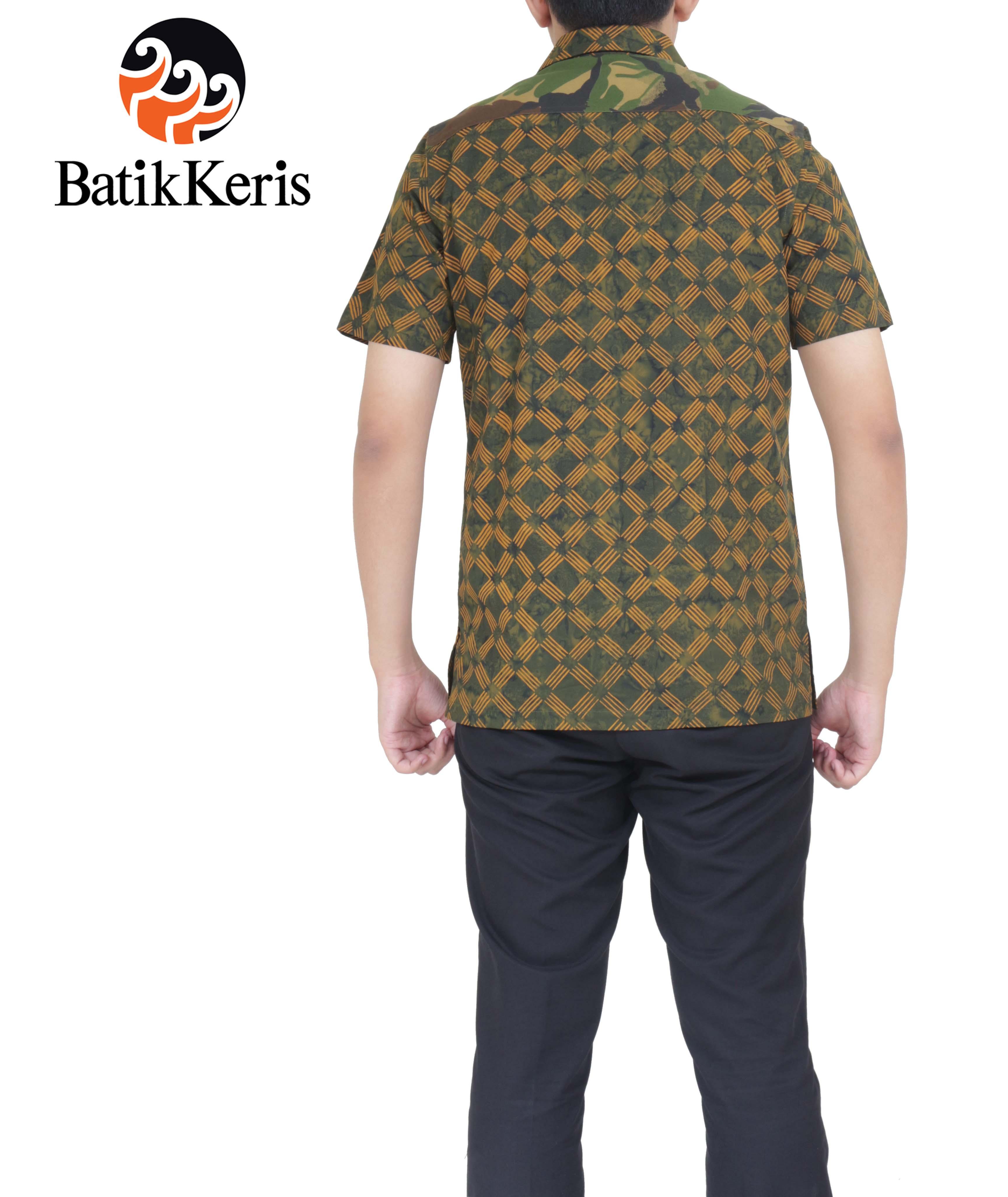 Batik Keris Solo 2017: KEMEJA BATIK SLIMFIT LENGAN PENDEK MOTIF NAMRUJI KOMBINASI