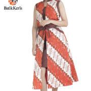 dress cap batik keris motif parang gandosuli kombinasi lurik