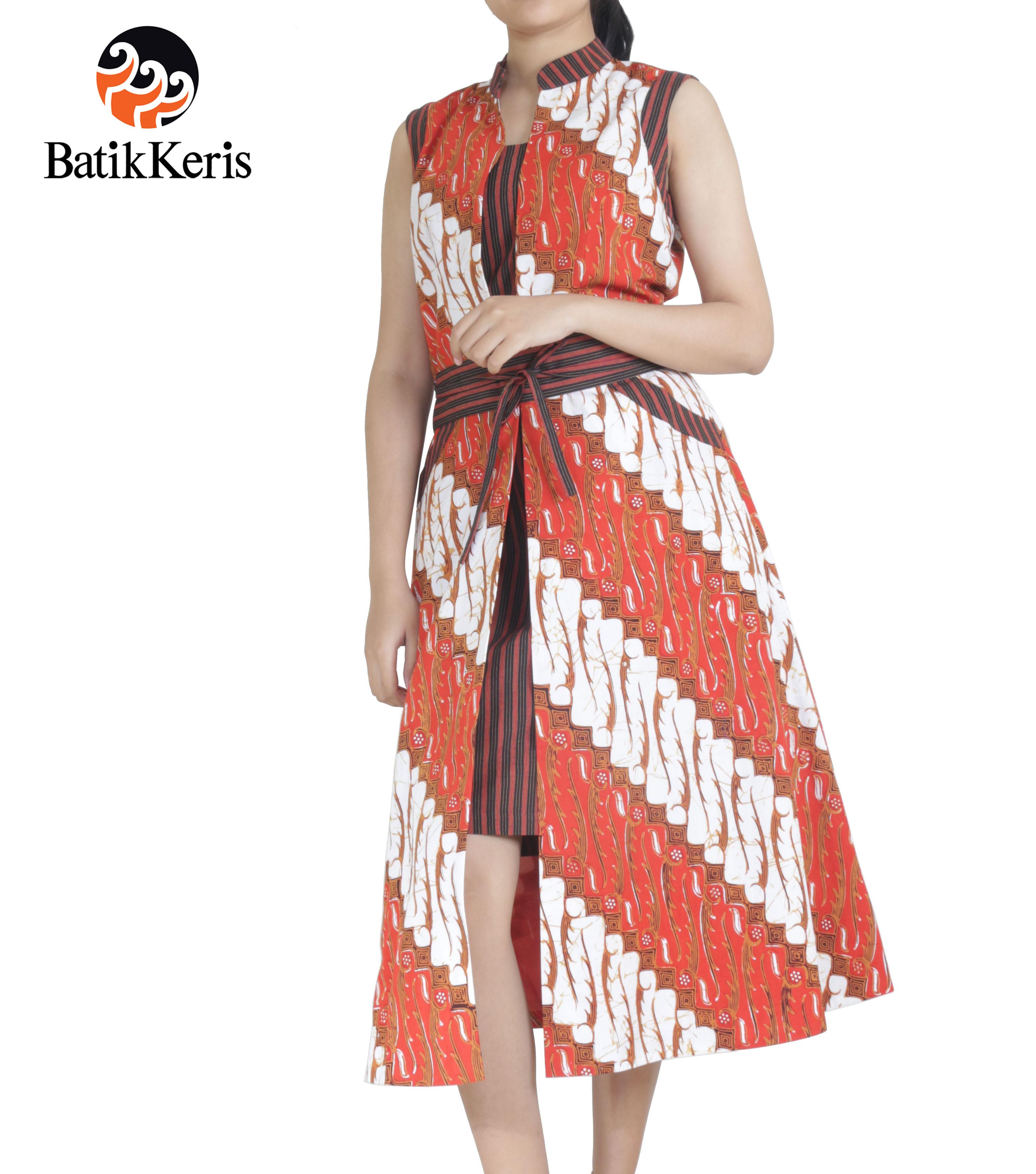 Sackdress Batik Motif Parang Gondosuli Kombinasi Lurik