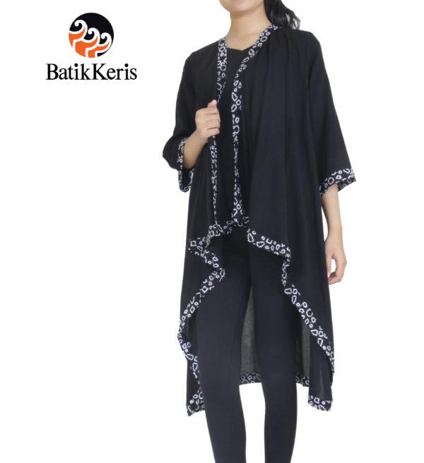 outer batik keris kelengan hitam putih