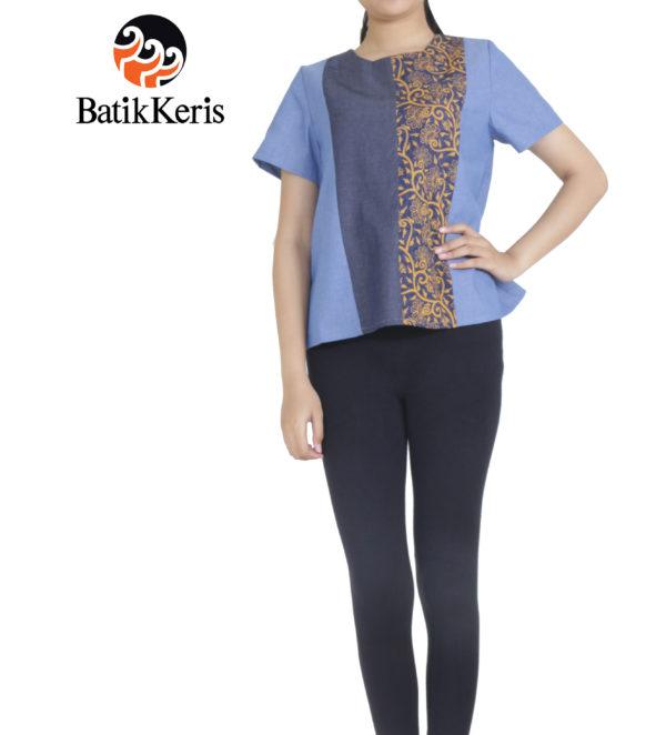 blouse batik keris denim kombinasi katun