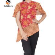 blouse lengan batik keris motif ron kinasih kombinasi kopi pecah