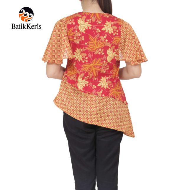 blouse lengan drapery batik keris motif ron kinasih kombinasi kopi pecah