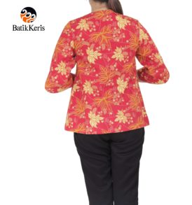 blouse lengan 3/4 leher bulat batik keris motif ron kinasih kombinasi kopi pecah