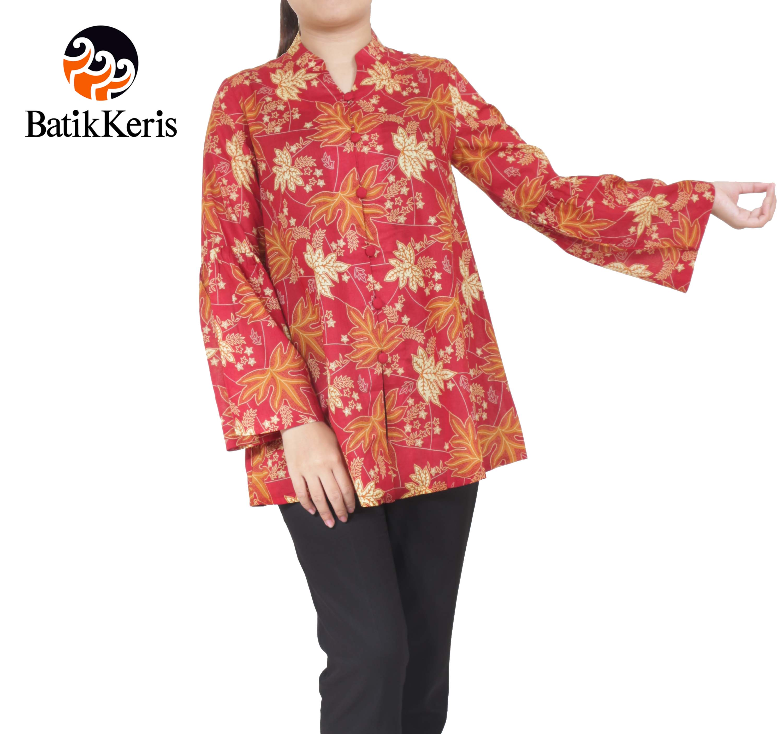 blouse lengan panjang batik keris motif ron kinasih kombinasi kopi pecah 3091865b8b