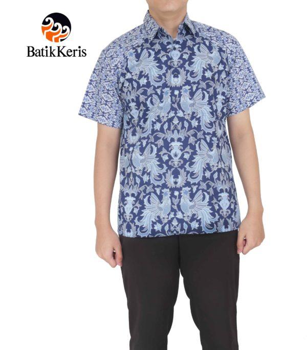 hem santai batik keris motif sawung galing kombinasi tenun satata