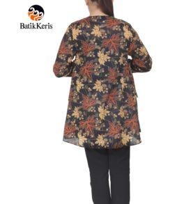 blouse lengan panjang batik keris motif ron kinasih kombinasi kopi pecah