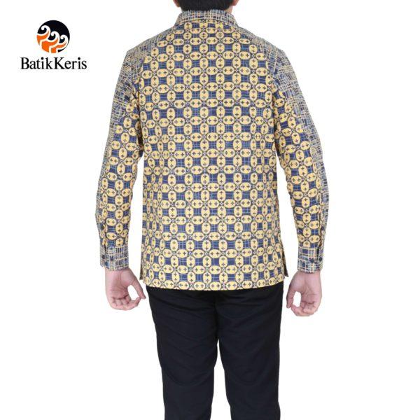 kemeja batik slimfit lengan panjang motif kawung kawatan kombinasi kawatan kawung