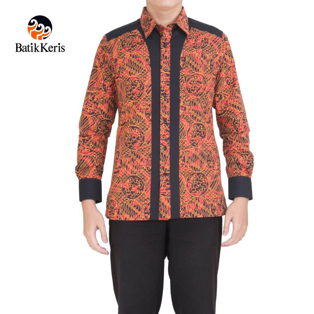 Kemeja Batik Pria Sutra: KEMEJA BATIK SLIMFIT LENGAN PANJANG MOTIF SEKAR JAGAD