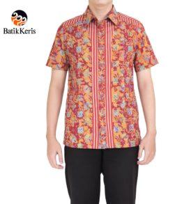 kemeja slimfit lengan pendek batik keris motif bledak seling kombinasi lurik