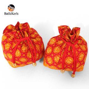 dompet serut mini batik keris motif wangi bunga