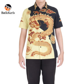 kemeja batik keris slimfit lengan pendek motif naga agung