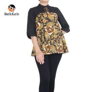 blouse batik keris lengan 3/4 motif kukilo selaras kombinasi polos