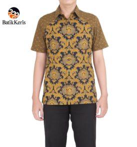 kemeja slimfit lengan pendek batik keris motif bunga teratai kombinasi tinoto