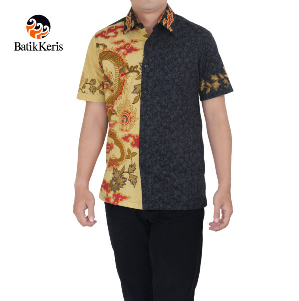 vkemeja s;imfit lengan pendek batik keris motif naga wicaksana