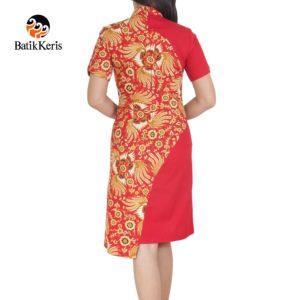 dress batik keris motif kukilo selaras kombinasi polos imlek 2018