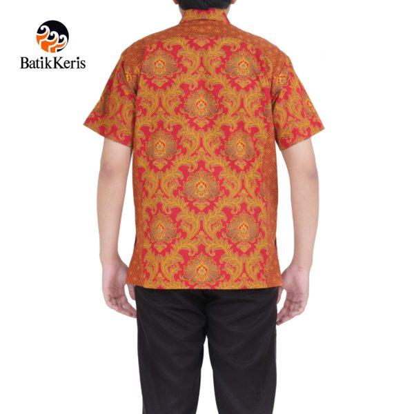kemeja santai batik keris motif bunga teratai kombinasi tinoto