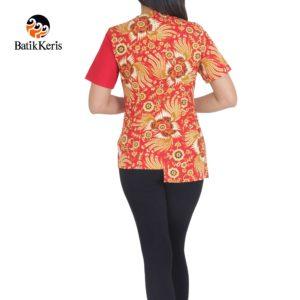 blus batik keris motif kukilo selaras kombinasi polos imlek
