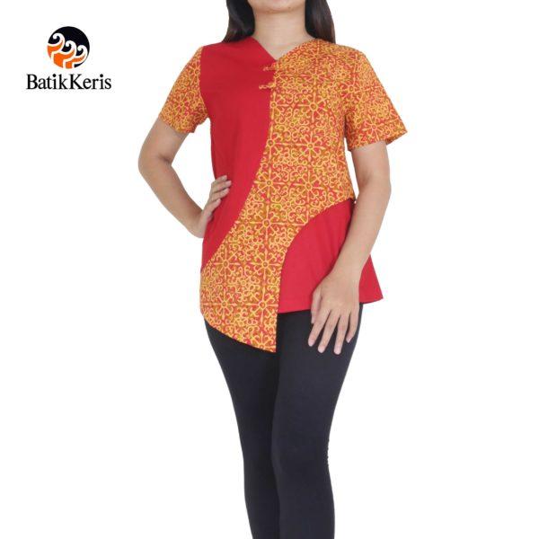 blus batik keris motif harmoni kombinasi polos imlek 2018