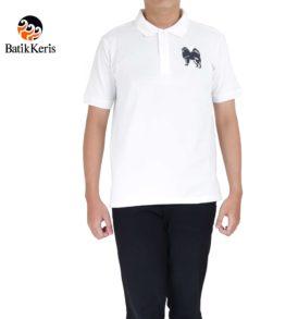 t-shirt polo batik keris motif anjing samoyed imlek