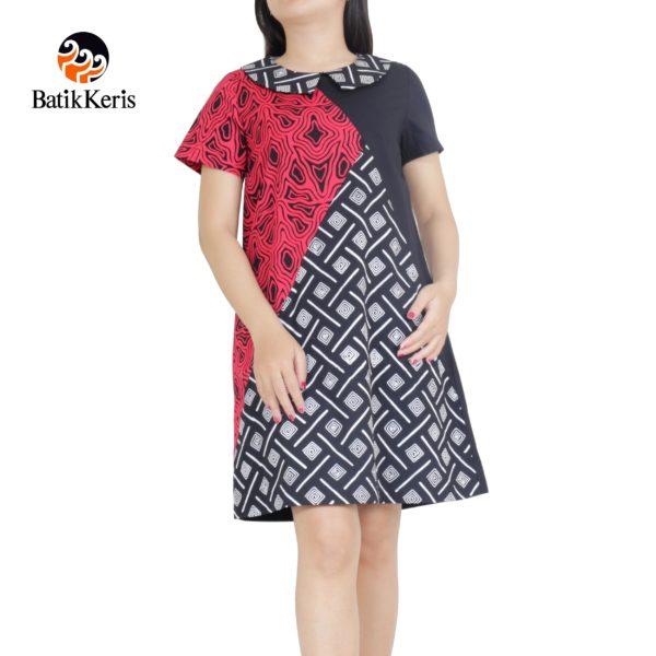 sackdress batik keris motif batik hitam purih kombinasi