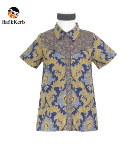 blouse anak batik keris motif bunga teratai kombinasi tinoto
