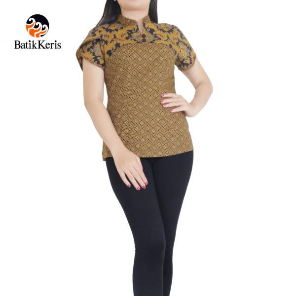 blouse lengan pendek motif bunga teratai kombinasi tinoto