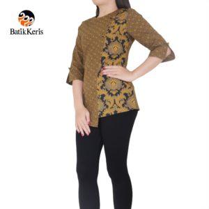 blouse lengan 3/4 motif bunga teratai kombinasi tinoto