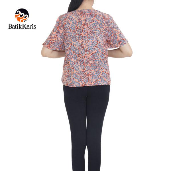 blouse lengan pendek motif mata tombak