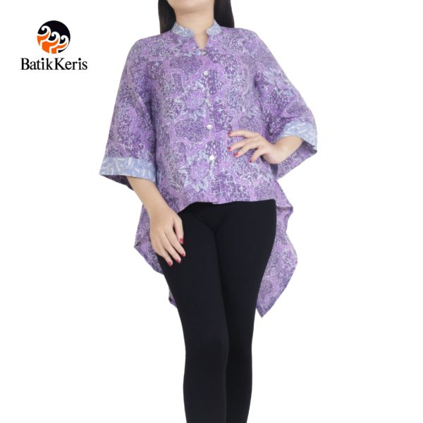 blouse batik keris lengan 3/4 motif sekar jagad kombinasi