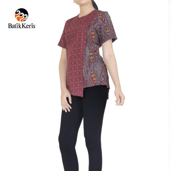 blouse lengan pendek motif sumulur katon kombinasi ceplik sumulur