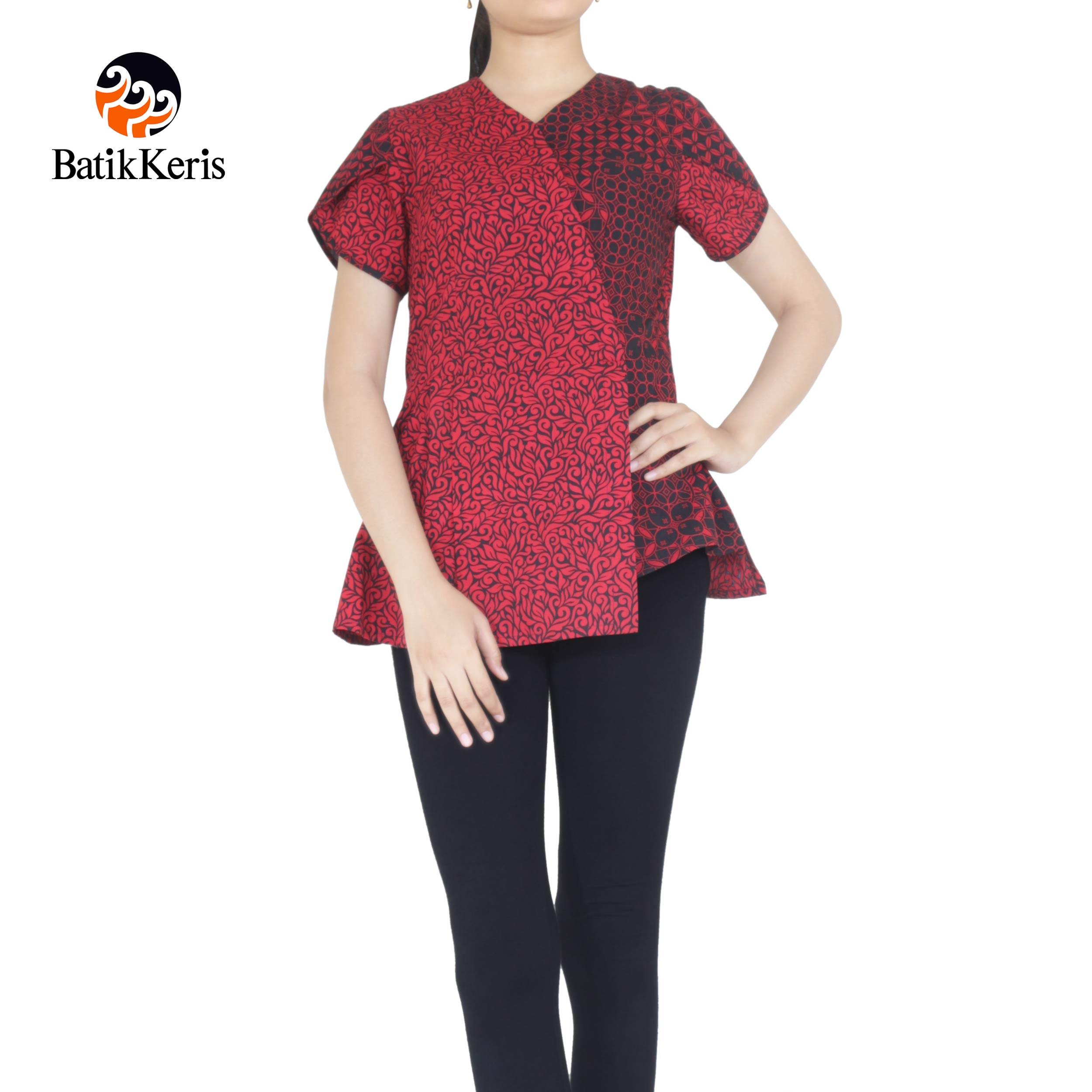 blouse batik keris motif kawung wiwarno kombinasi ron jinawi