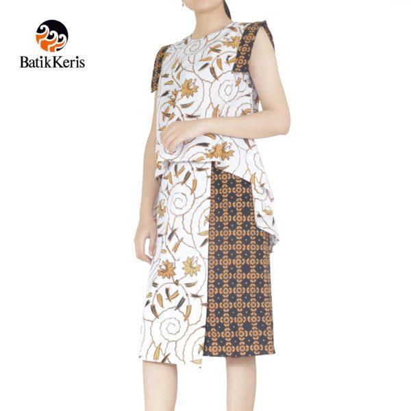 sackdress midi batik keris motif daun padi kombinasi