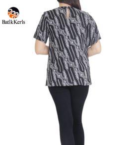 blouse batik keris motif kelengan hitam putih