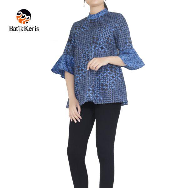 blouse lengan 3/4 batik keris motif kawung wiwarno kombinasi ron jinawi