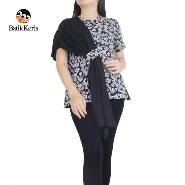 blouse batik keris motif kelengan hitam putih kombinasi polos