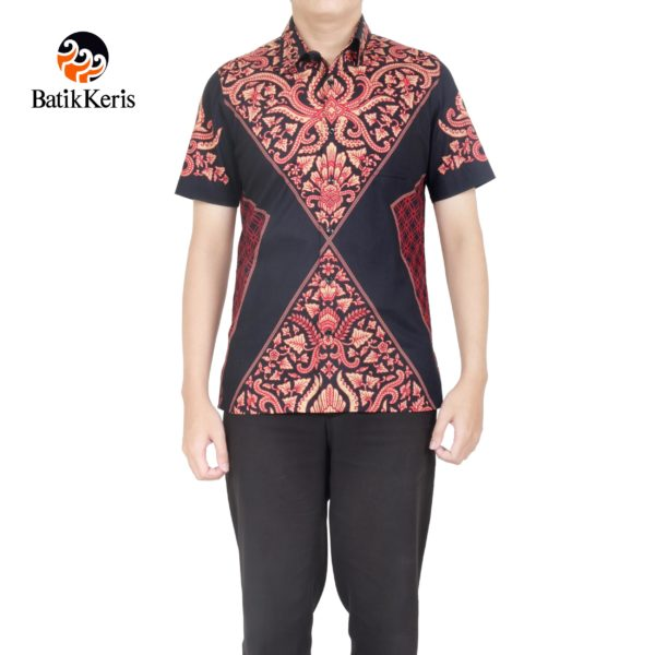 kemeja slimfit batik keris lengan pendek motif pisan bali
