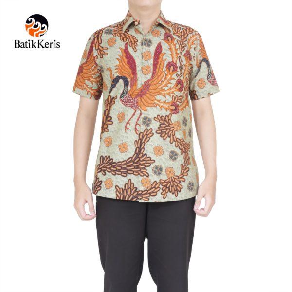kemeja batik formal lengan pendek motif peksi angkasa