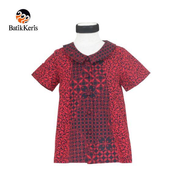 blouse anak motif ron jinawi kombinasi kawung wiwarno