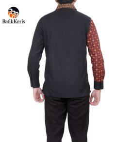 kemeja slimfit lengan panjang motif polos kombinasi serat prakoso