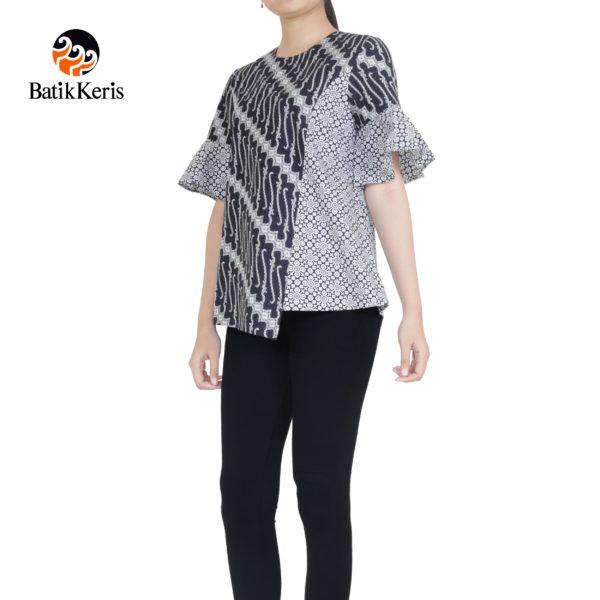 blouse lengan pendek 1/2 klok motif parang niti cendono komb truntum pepet