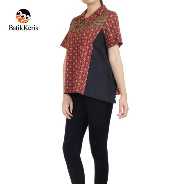 blouse lengan pendek motif sido serat prakoso kombinasi tetabur pari