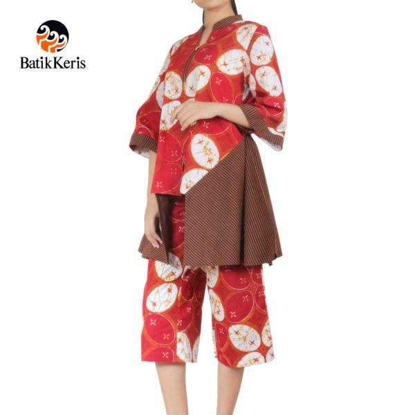 blouse celana motif kawung sekawan kombinasi lurik