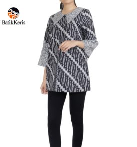 blouse lengan panjang motif parang niti cendono kombinasi truntum pepet