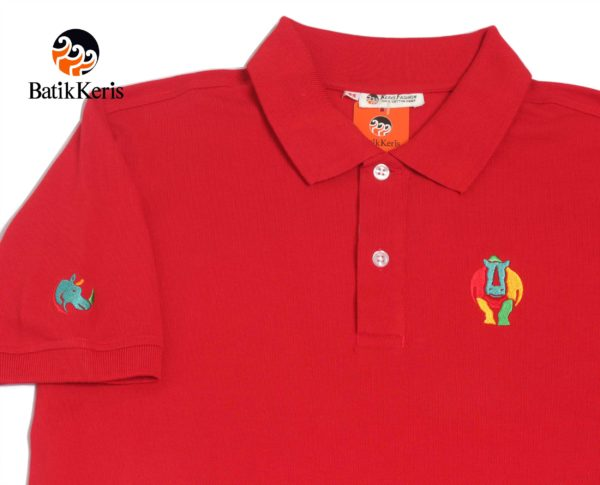polo shirt dewasa motif badak bercula