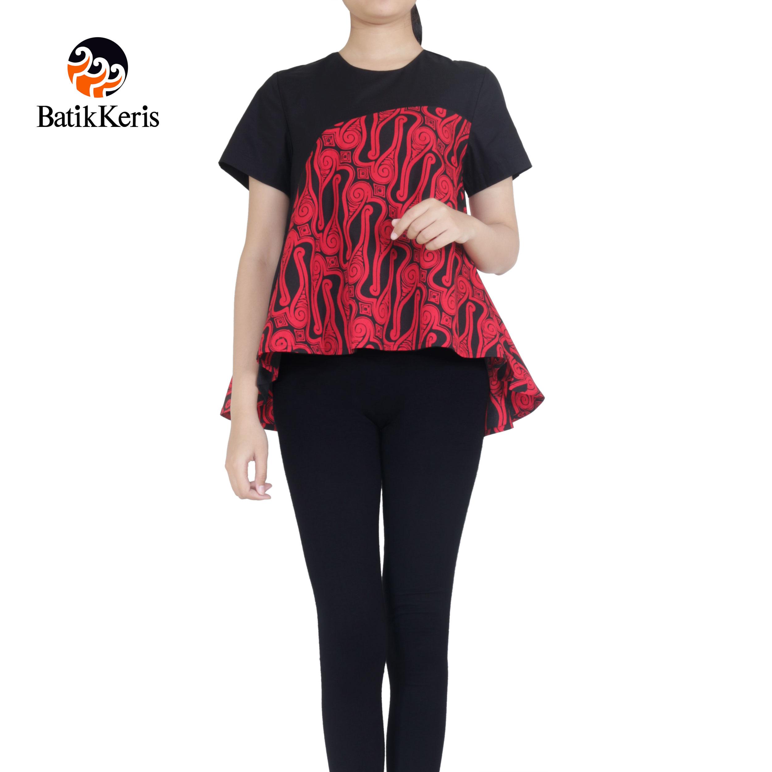 blouse lengan pendek motif parang tlale komb polos