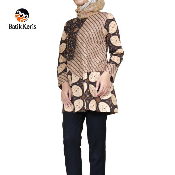 blouse muslim motif kawung kombinasi lawasan
